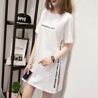 Round Neck Short Sleeves Alphabetic Print Mini Dress - White