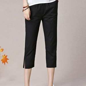 Plain Narrow Bottom Elastic Waist Casual Trouser - Black