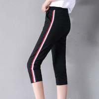 Narrow Bottom Stripe Contrast Elastic Waist Casual Trouser - Black