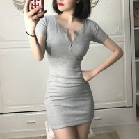 Notched Neck Body Fitted Mini Dress - Gray
