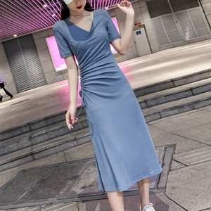 V Neck Short Sleeves Solid Color Midi Dress - Blue
