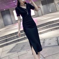 V Neck Short Sleeves Solid Color Midi Dress - Black