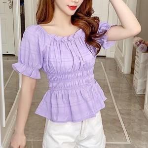 Ruffled Hem Sexy Wear Women Fashion Vintage Blouse Top - Purple
