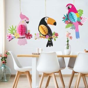 3 Pieces Paper Honeycomb Decoration Hanging Parrots - Multi Color