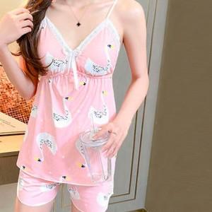 Digital Prints Two Pieces Women Fashion Lingerie Set - Light Pink