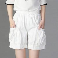 Elastic Waist Elegant Casual Wear Women Fashion Shorts - White