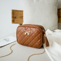 Patchwork Bow Patched Tassel Chain Strap - Brown
