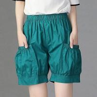 Elastic Waist Elegant Casual Wear Women Fashion Shorts - Green