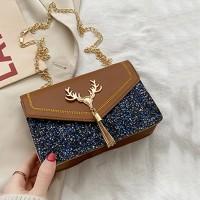 Glittery Tassel Chain Strap Messenger Bags - Brown