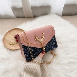 Glittery Tassel Chain Strap Messenger Bags - Pink