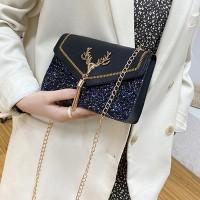 Glittery Tassel Chain Strap Messenger Bags - Black