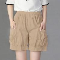 Elastic Waist Elegant Casual Wear Women Fashion Shorts - Khaki