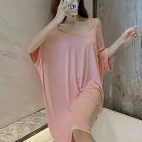 Cold Shoulder Round Neck Loose Wear Mini Dress - Pink