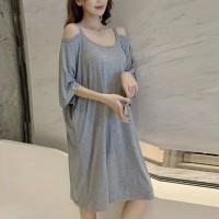 Cold Shoulder Round Neck Loose Wear Mini Dress - Gray