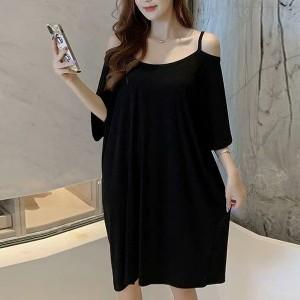 Cold Shoulder Round Neck Loose Wear Mini Dress - Black