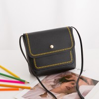 Button Closure Synthetic Leather Messenger Bags - Black