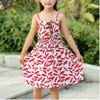 Spaghetti Strap Kids Beach Wear Girls Mini Dress - Red