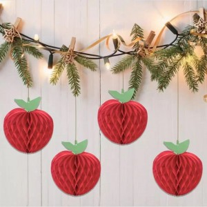 5 Pieces Apple Honeycomb Paper Home Party Decoration Ball - Red