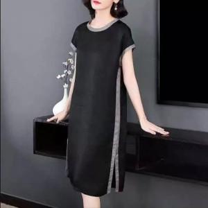 Contrast Striped Round Neck Short Sleeves Midi Dress - Black
