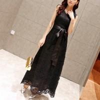 Waist Band Strap Sleeveless Full Dress - Black