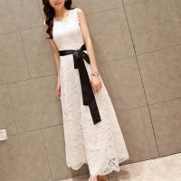 Waist Band Strap Sleeveless Full Dress - White
