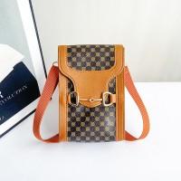 Printed Magnetic Closure Women Fashion Mini Shoulder Bags - Brown