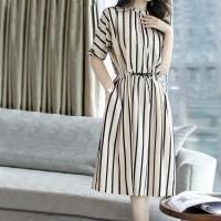 O Neck Striped Short Sleeves Mini Dress - White
