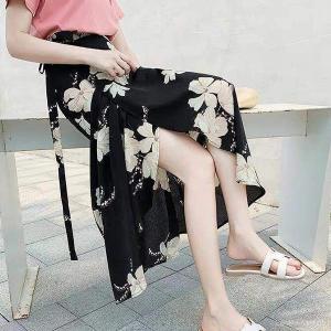 Floral Print Split Hem Beach Wear Skirt - Black Yellow