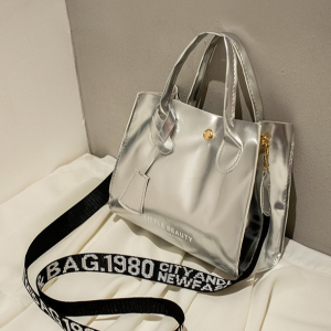 Synthetic Leather Stylish Vintage Style Handbags - Silver