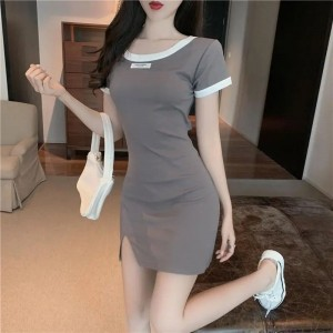 Contrast Round Neck Body Fitted Mini Dress - Gray