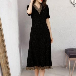 Contrast V Neck Pleated Midi Dress - Black