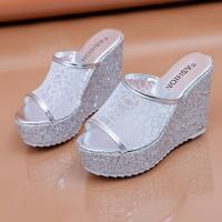 Glittery Platform Thick Bottom Women Party Wear Heels - Silver