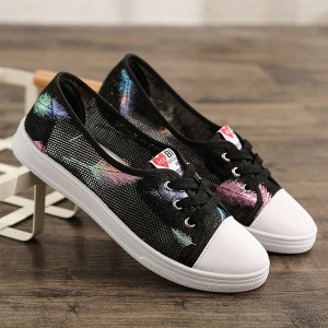 Leaves Printed Lace Closure Canvas Sneakers - Black