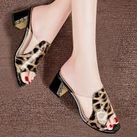 Square Heel Leopard Print Party Wear Heels - Brown