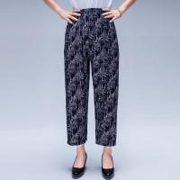 Floral Printed Casual Wear Elastic Waist Women Trouser - Gray