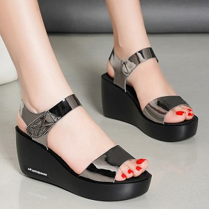 Velcro Closure Shiny Thick Bottom Party Wear Sandals - Gray