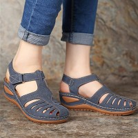 Thick Sole Buckle Closure Spider Sandals - Blue