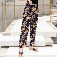Floral Printed Casual Wear Elastic Waist Women Trouser - Yellow