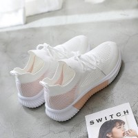 Rubber Sole Lace Closure Light Weight Sneakers - Pink