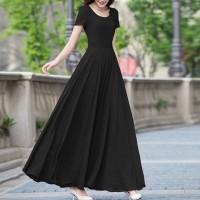 Pleated Full Length Short Sleeves Round Neck Maxi Dress - Black