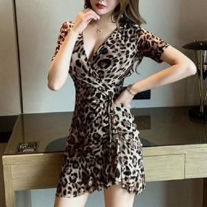 Deep V Neck Leopard Printed Irregular Short Sleeves Mini Dress