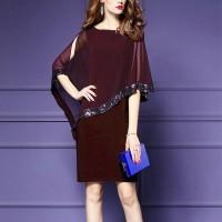 Chiffon Glittery Party Wear Mini Dress - Purple