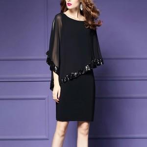 Chiffon Glittery Party Wear Mini Dress - Black