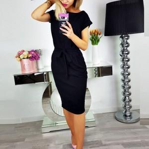 Solid Color Waist Strap Mini Dress - Black