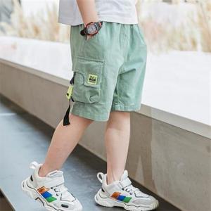 Kids Casual Wear Contrast Sports Unisex Shorts - Green