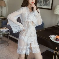 Lace Long Sleeves See Through Sexy Wear Lingerie Set - White