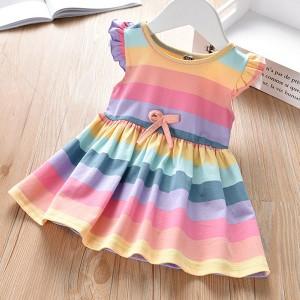 Stripes Rainbow Sleeveless Frilled Girls Dress
