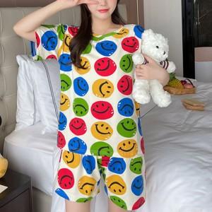 Smileys Printed Round Neck Nightwear Pajama Suits - Colorful
