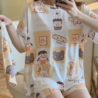 Graphic Printed Round Neck Nightwear Pajama Suits - Beige