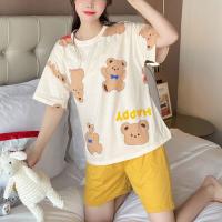 Cartoons Printed Round Neck Nightwear Pajama Suits - Yellow